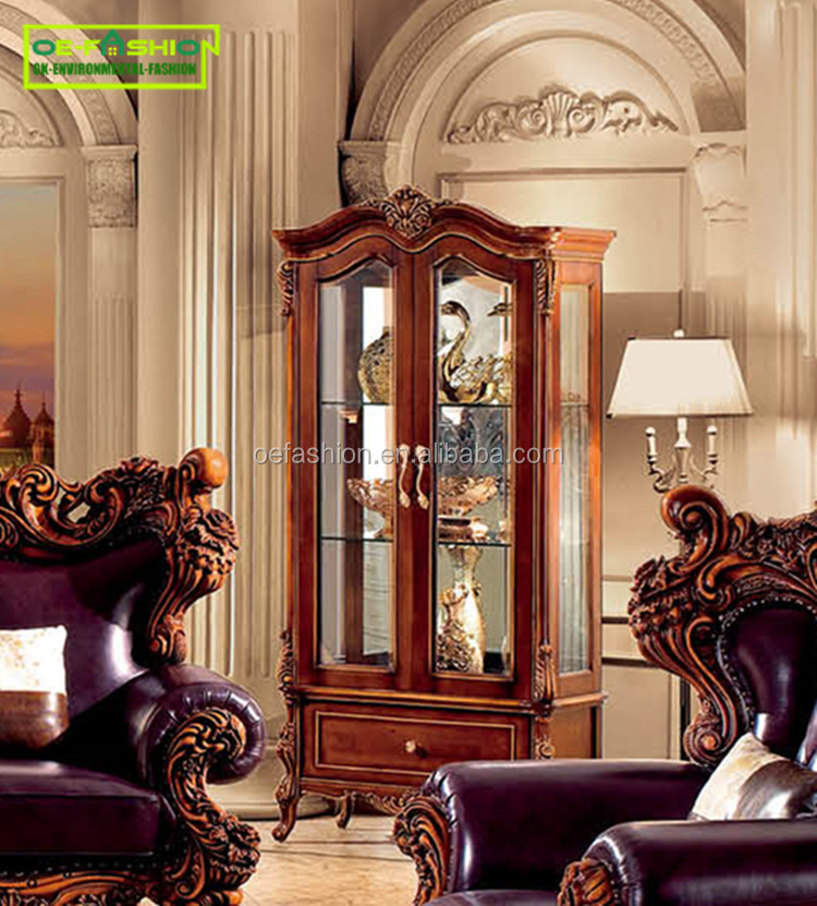 oefashion dubai style luxury two doors antique wine display <strong>cabinet</strong> 942