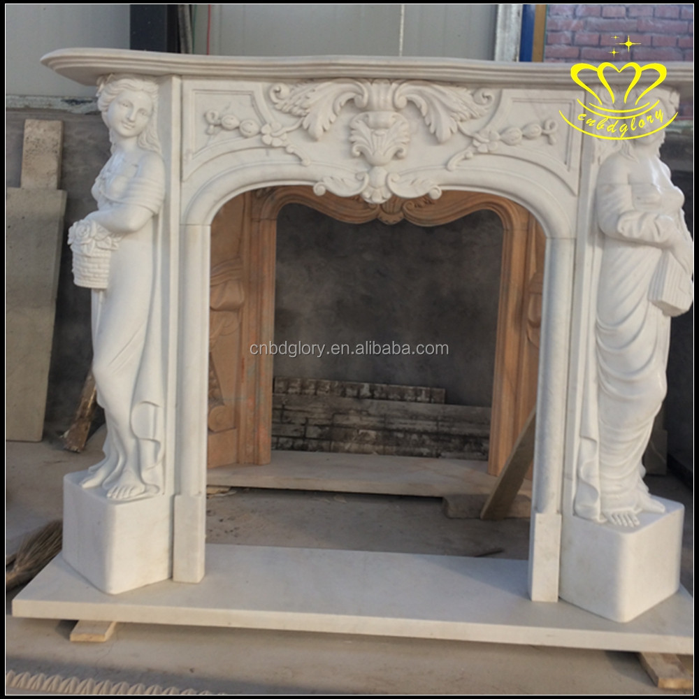 white marble carving delicate European style western figure indoor fireplace
