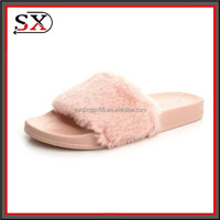 (Stock) Fluffy Faux Slide Sandal Mules Open Toe Shoes soft fur women slippers