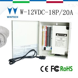 220v ac 18channel 12v dc power supply 20 amp for CCTV camera