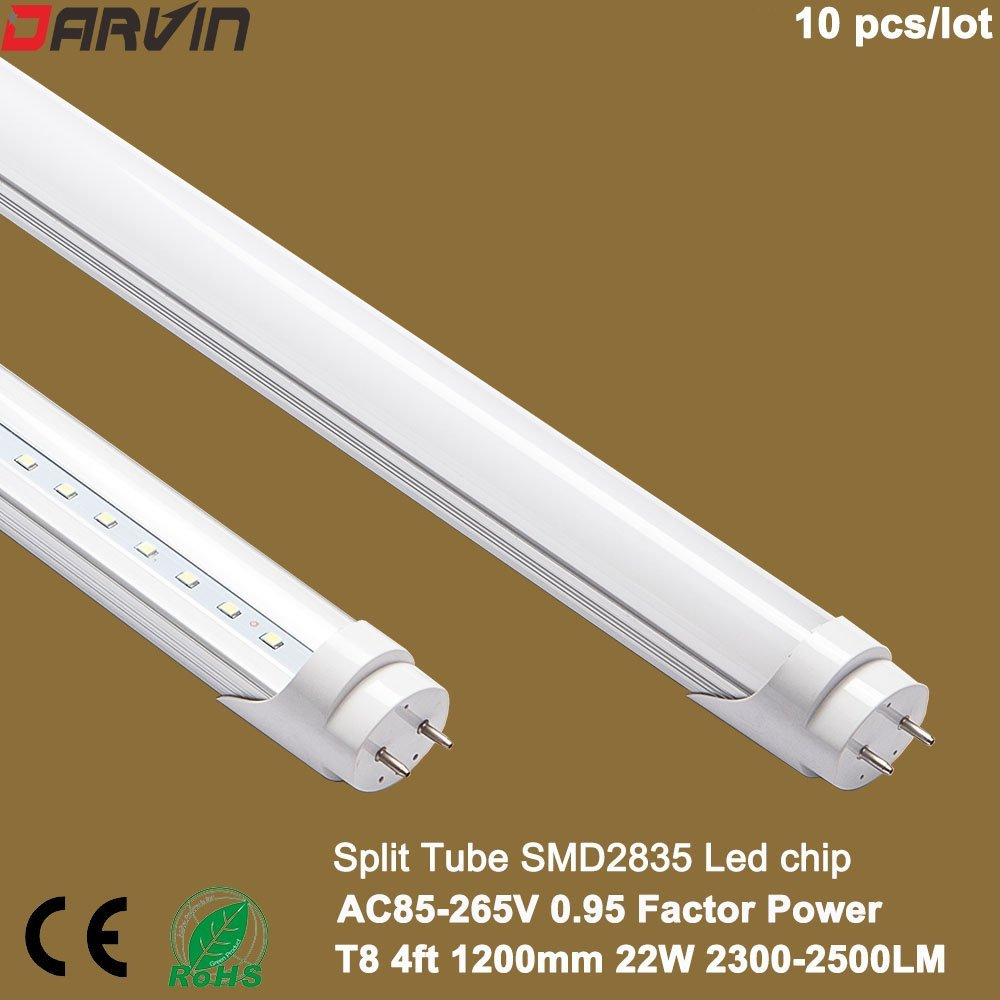 Led Light T8 4ft Light Lamp SMD 2835 Led Chip High Lumen 22watts 110V 220V Led Tube Factory Price (Milky Cover, Cold White 6000-6500K)