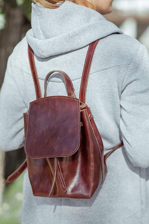 fee420535e Get Quotations · leather backpack women backpack city women s backpack  leather rucksack brown Burgundy backpack custom backpack girls college