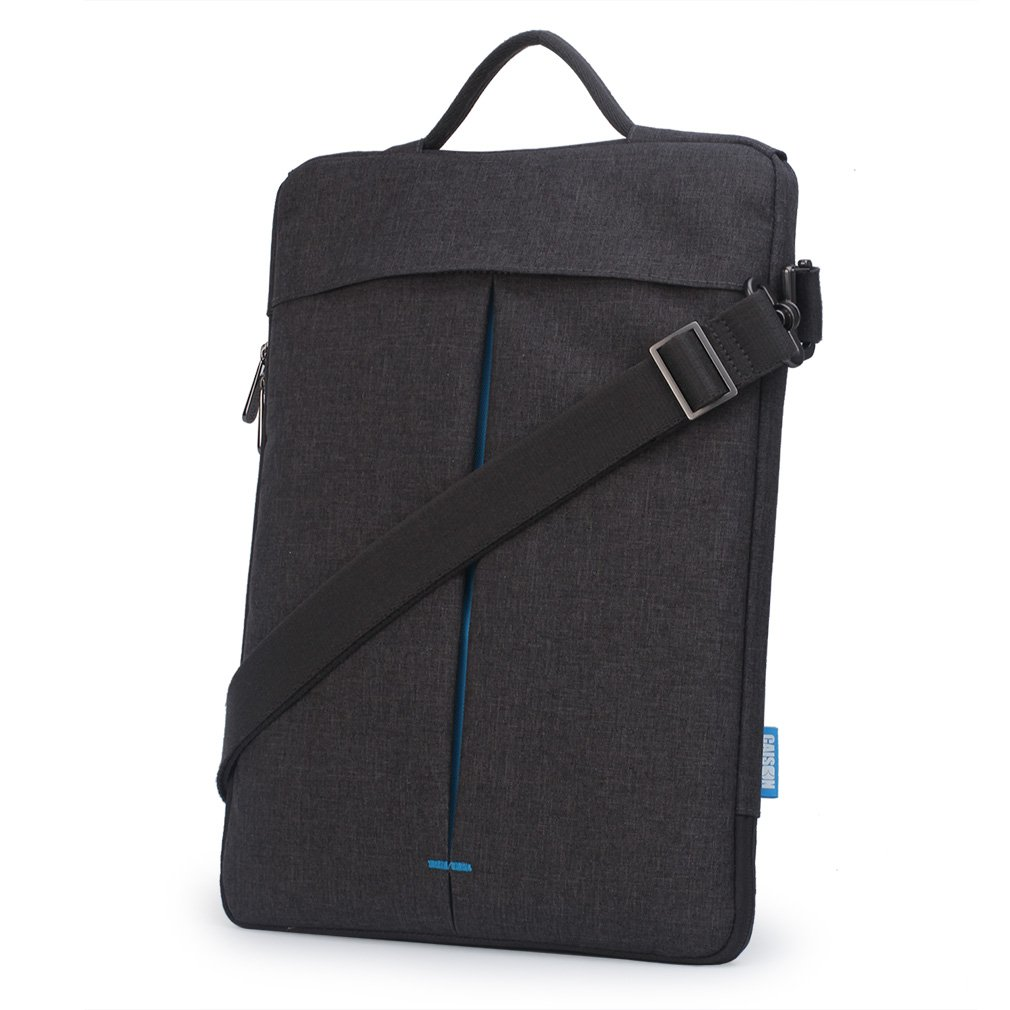 "CAISON Waterproof Cross Body Shoulder Bag with Strip Sleeve Case For 11.6 - 12 inch Laptap Notebook 12"" Apple MacBook / 12.3"" Microsoft Surface Pro (Grey / Turquoise Inset)"