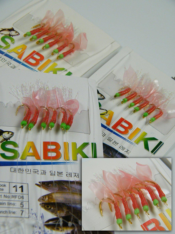 Sale! 10 Pack Bulk Red Fish Skin Saltwater Fresh Water Sabiki Fishing Rigs Lure Baits Set Kit