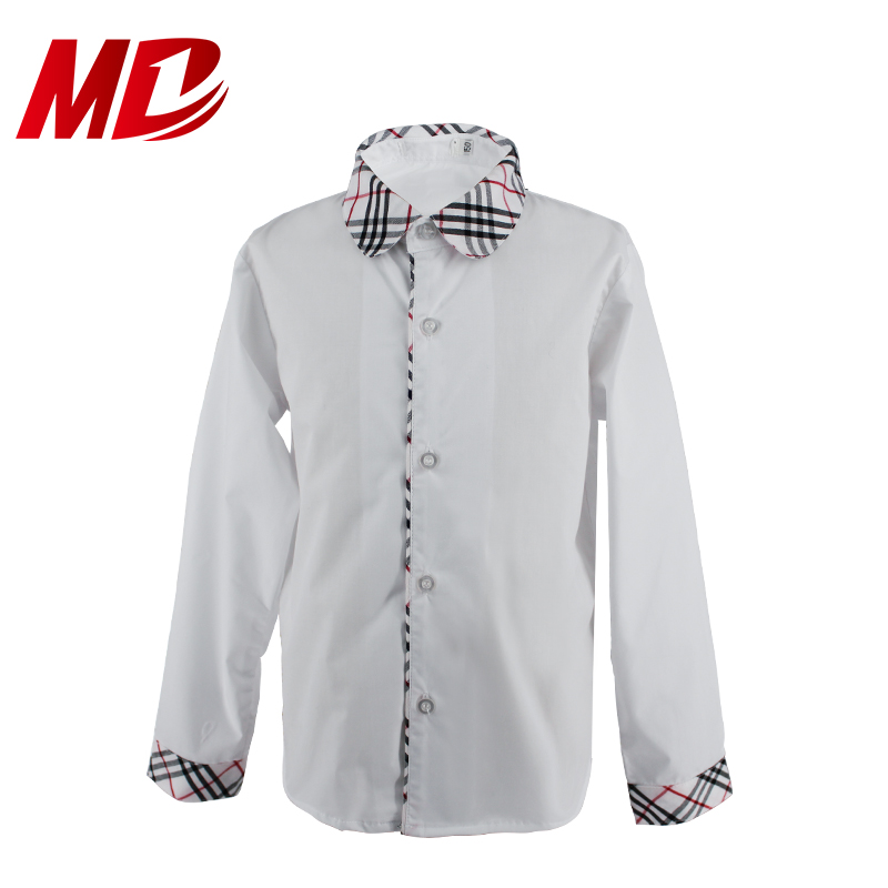 Hotsale Customize White Long Sleeve Shirt with Plaid Trim