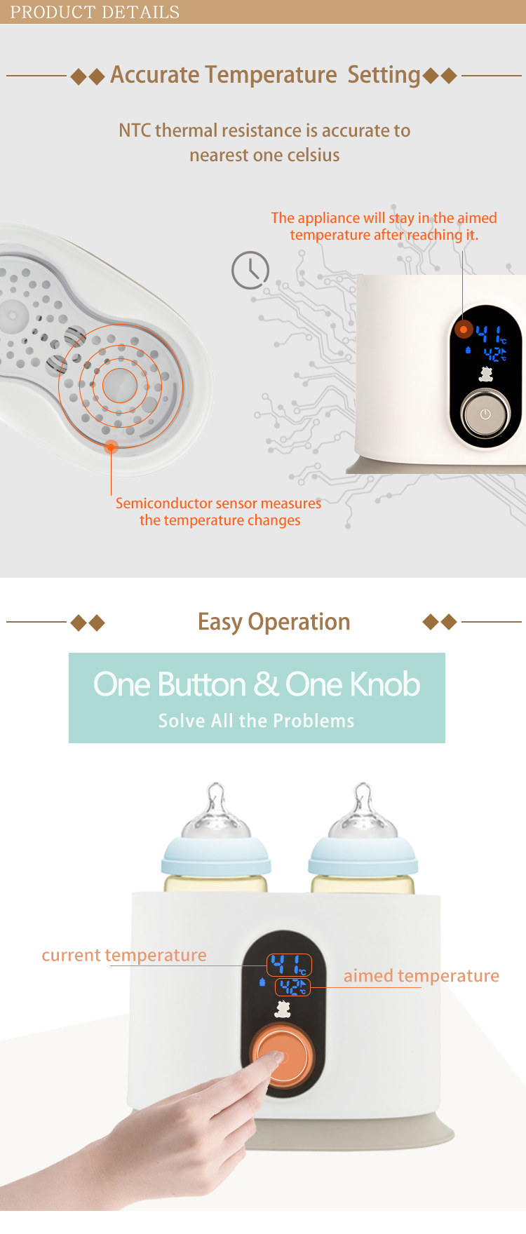 CE certified LCD screen baby feeding bottle warmer BPA free 2 in 1 baby milk bottle warmer