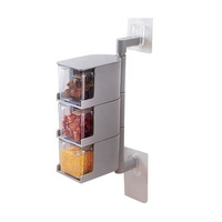 3-Tier 360 Degree Rotating Condiment Container Rotating Wall Mount Spice Rack kitchen tools
