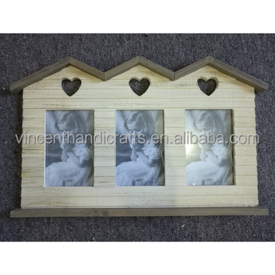 Three house shape can hold 3 pictures wooden photo frame