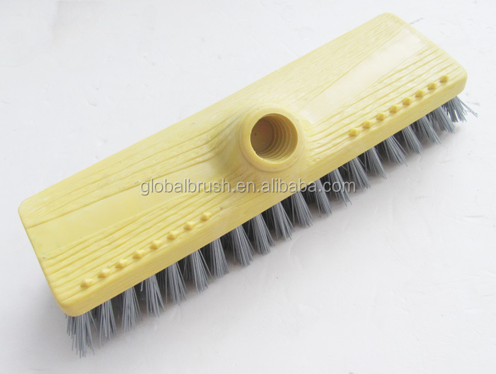 HQ0007A hand cleaning floor brush plastic wall brush w/ long wooden stick