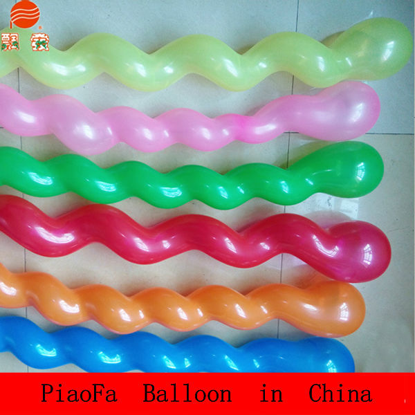 2016 Wholesale Globo toys Color long shape Inflatable Latex Screw Balloons