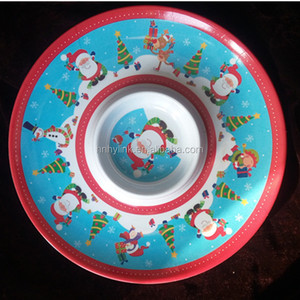 2018 Cheap Custom Printing melamine plastic chip and dip plates dishes plastic chip and dip trays divided plates dishes
