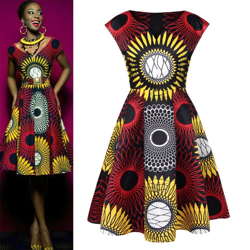 Short sleeve knee length traditional fashion wax print formal african dresses