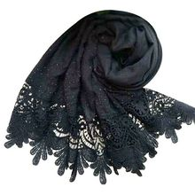 Luxury brand beads shawl cotton viscose muslim stone scarf edges pearls plain lace pearl hijab scarf