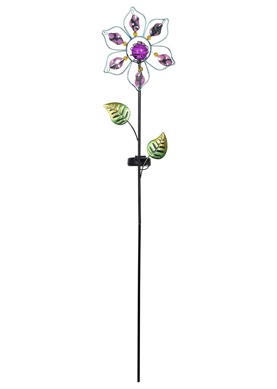 Russco III GS134901 Solar Powered LED Flower Garden Stake, Purple
