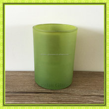 Luxury grass green colored glass candle holder,spray cylinder glass container for candle making