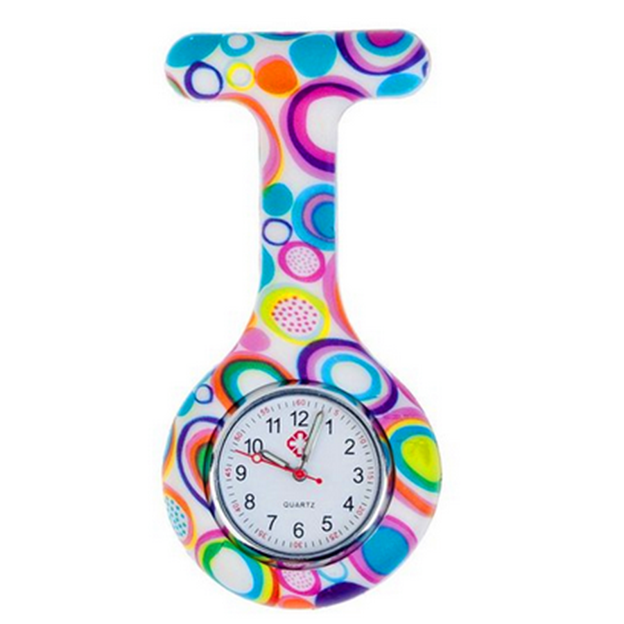 colorful High Quality Unisex Nurses Lapel Watch Silicone