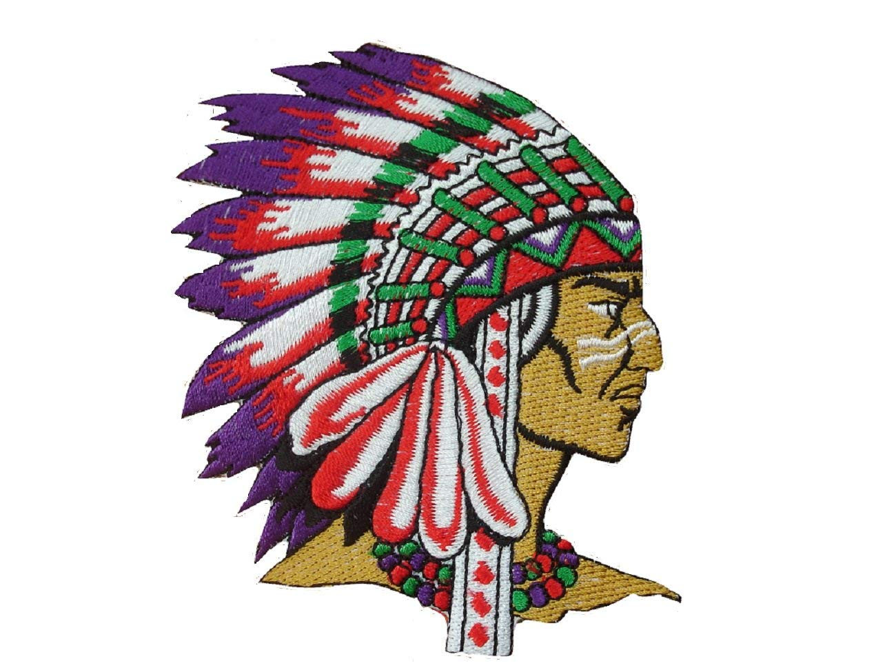 NATIVE AMERICAN Iron On Patch * Lot of 2 pieces * Applique Motif Red Indian Chief Biker Decal 3.8 x 3.4 inches (10 x 8.5 cm)
