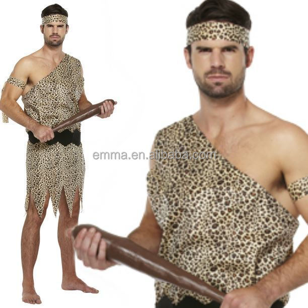 One Size Caveman Costume Jungle Cave Man Stag Night Mens Fancy Dress Outfit New