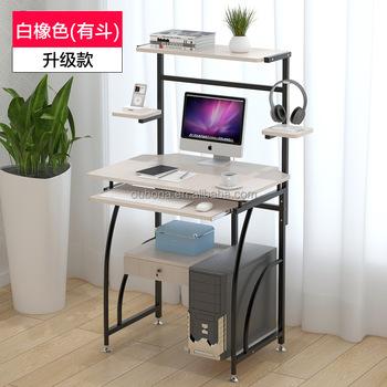 Classic Computer Desk Study Sliding Keyboard Shelves Printer Stand
