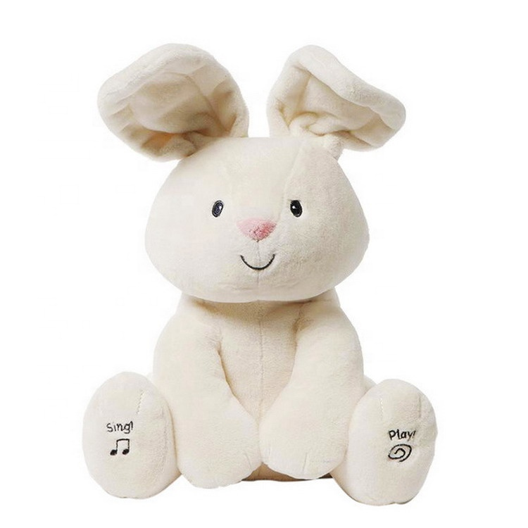 new 28cm lovely hide and seek peek a boo music plush <strong>rabbit</strong> sing and play ear moving bunny