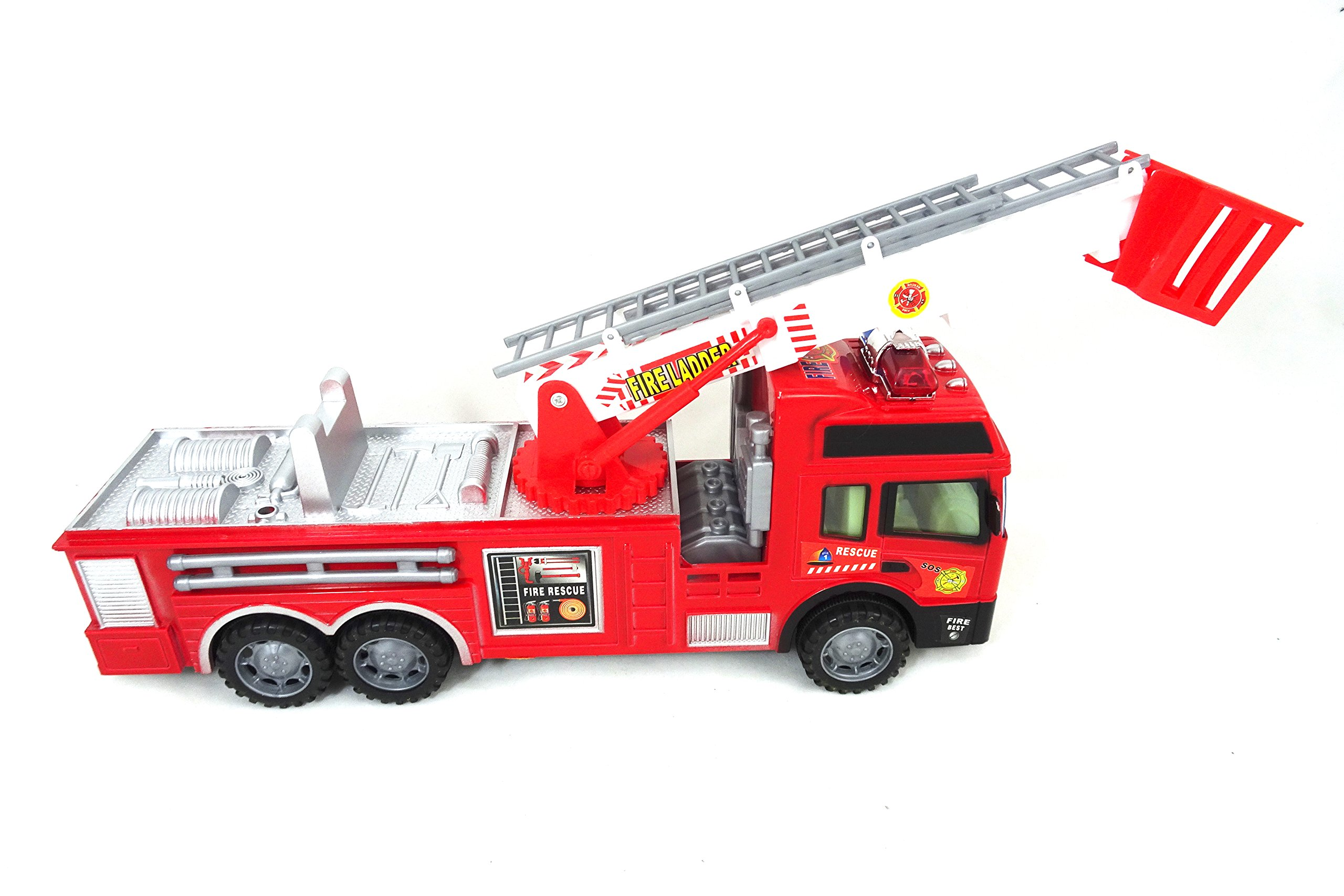 Fire Station Rescue Toy Fire Truck For Kids - Awesome Red Fire Engine With Stickers & 360 Operational Ladder