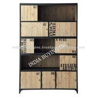 industrial Indian Antique iron black metal frame reclaimed wood sideboard cabinet