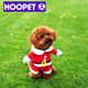 HOOPET warm red pet costume with hat xmas dog winter clothes hand crochet dog sweater