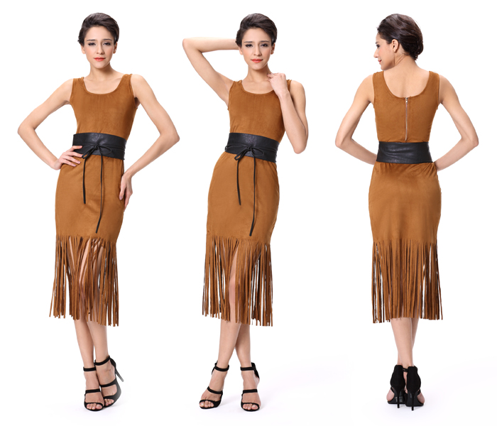 Suede Fabric Dress Short Feather Cocktail Dresses Fringes For ...