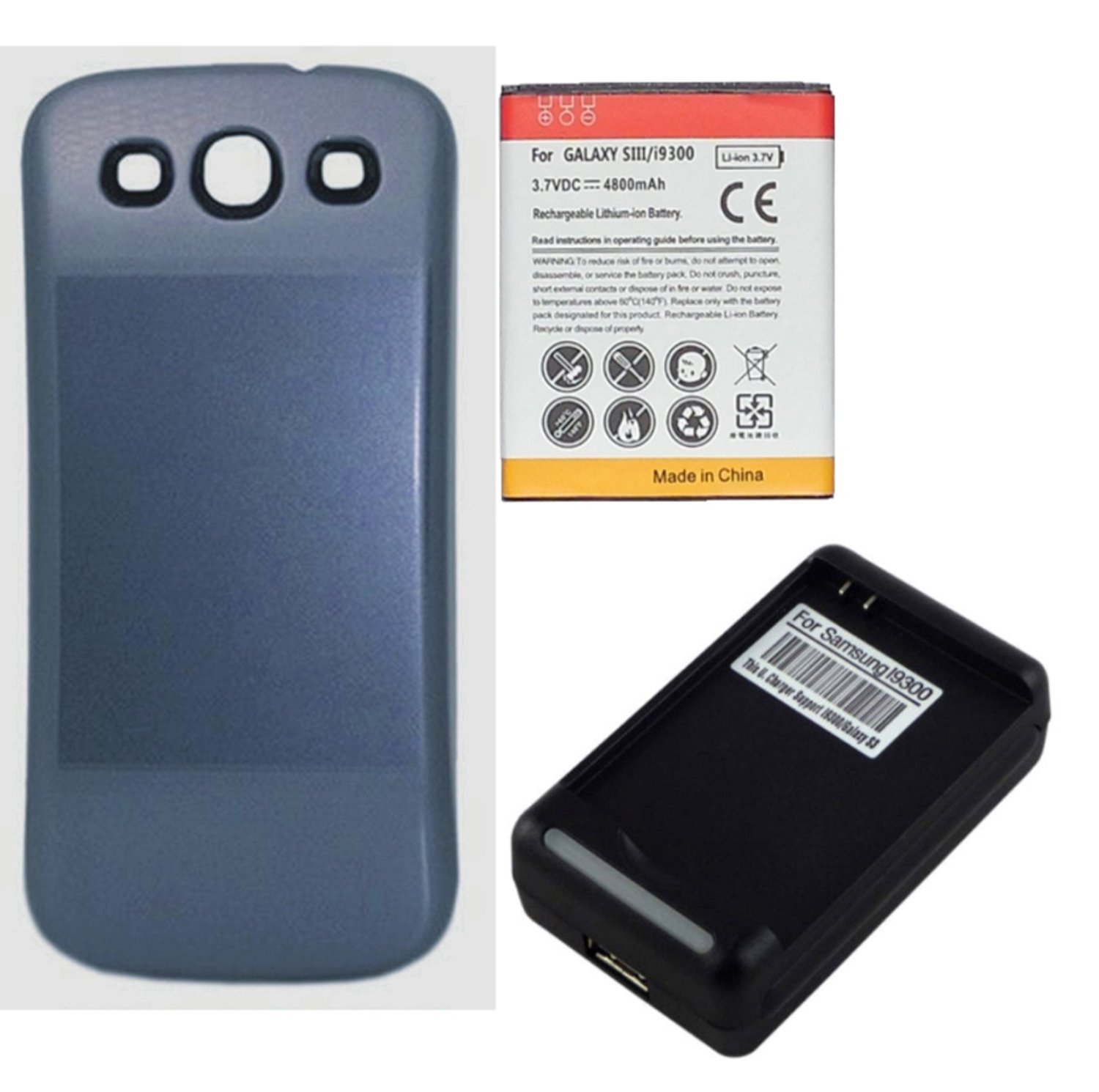 Fourstarr Deals 4800mAh Extended Battery with Blue Door + USB Dock Wall Charger for Samsung Galaxy S3 i9300, L710, i747, i545, T999