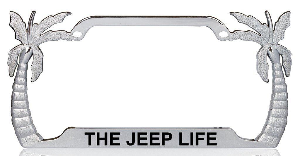 THE JEEP LIFE Palm Tree Design Chrome Metal License Plate Frame Auto Tag