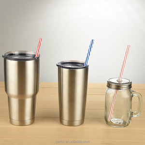 Reusable Straws For 20/30oz Stainless Steel Tumbler,Colorful Striped Plastic Straws,Long Drinking Straw With Brushes