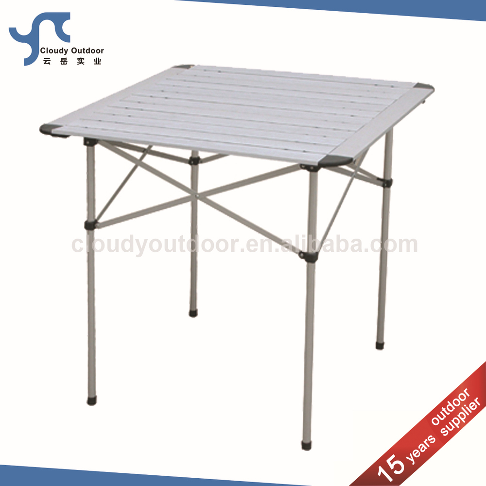 Roll Up Top Camping Aluminum Small Metal Folding Table