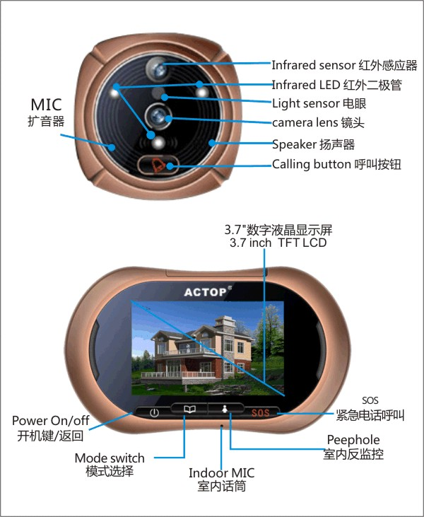 3.7 inch fashionable mechanical doorbell for screen monitor er for home automatic with camera GSM MSM funtion