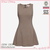 Ladies' cottom print ruffle bottom high quality direct manufacture raw silk dress