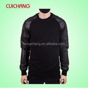 Wholesale crewneck sweatshirts with leather sleeve&leather sleeve sweatshirt cc-356