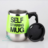 2019 high quality 450ML double wall stainless steel cover self stirring mug with handle