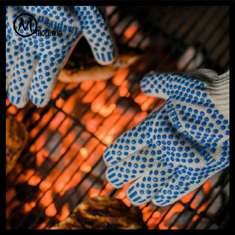 2016 Morewin Food Grade Grilling BBQ Gloves Nomex/Cotton knitted Heat Resistant Cooking Oven Gloves