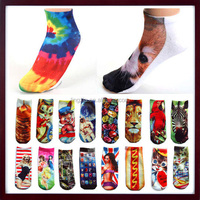 Women Fashion Low Cut Ankle Socks Cotton 3D Printed Socks, Girl Art Printed 3D Digital Socks