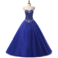Quinceanera Dresses Princess Ball Gown New Collection Blue Beads For Women Party Dresses vestidos de fiesta