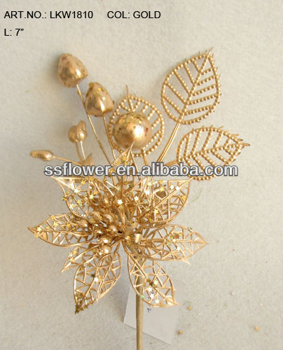 "2014 New Artificial Christmas Poinsettia Pick 7"" Artificial Polyfoam Gold Fruit With Berries and Pineneedle Pick"