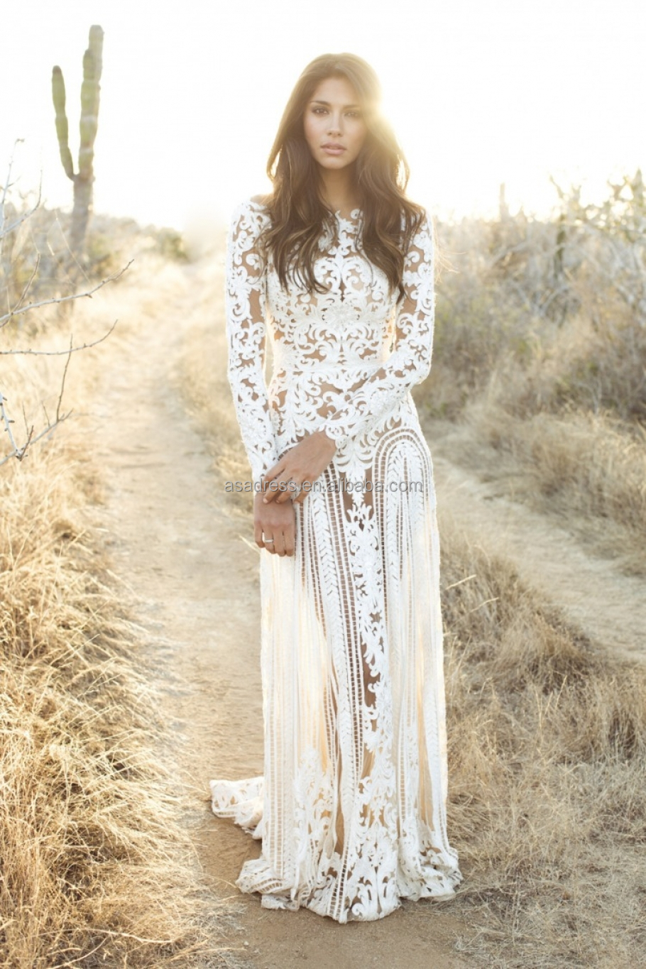 Wedding Dress See Through Lace Wedding Dress bhm1 new trend hollow back bridal lace wedding gown long sleeve see through bohenmian dress