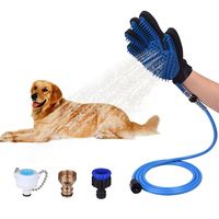Pet Shower Sprayer and Pet Deshedding Glove 2 in 1 with 3 Faucet Adapte