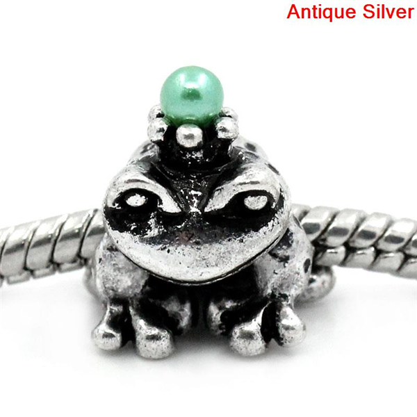 European Charm Beads Frog Antique Silver W/Green Beads 14x13mm,Hole:Approx 5mm,20PCs