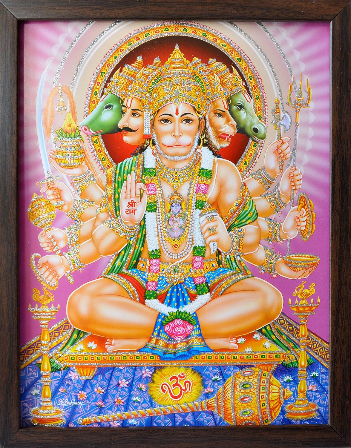 Lord Hanuman with five faces and ten hands holding weapons and giving blessings, A Holy Hindu Religious Poster painting with frame for Worship purpose