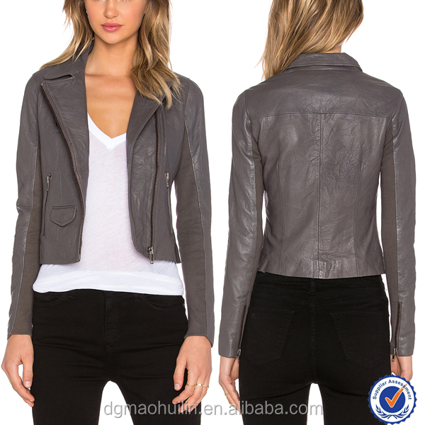 Women Coat Autumn Winter Jacket Grey Leather Jacket Fashion Design ...