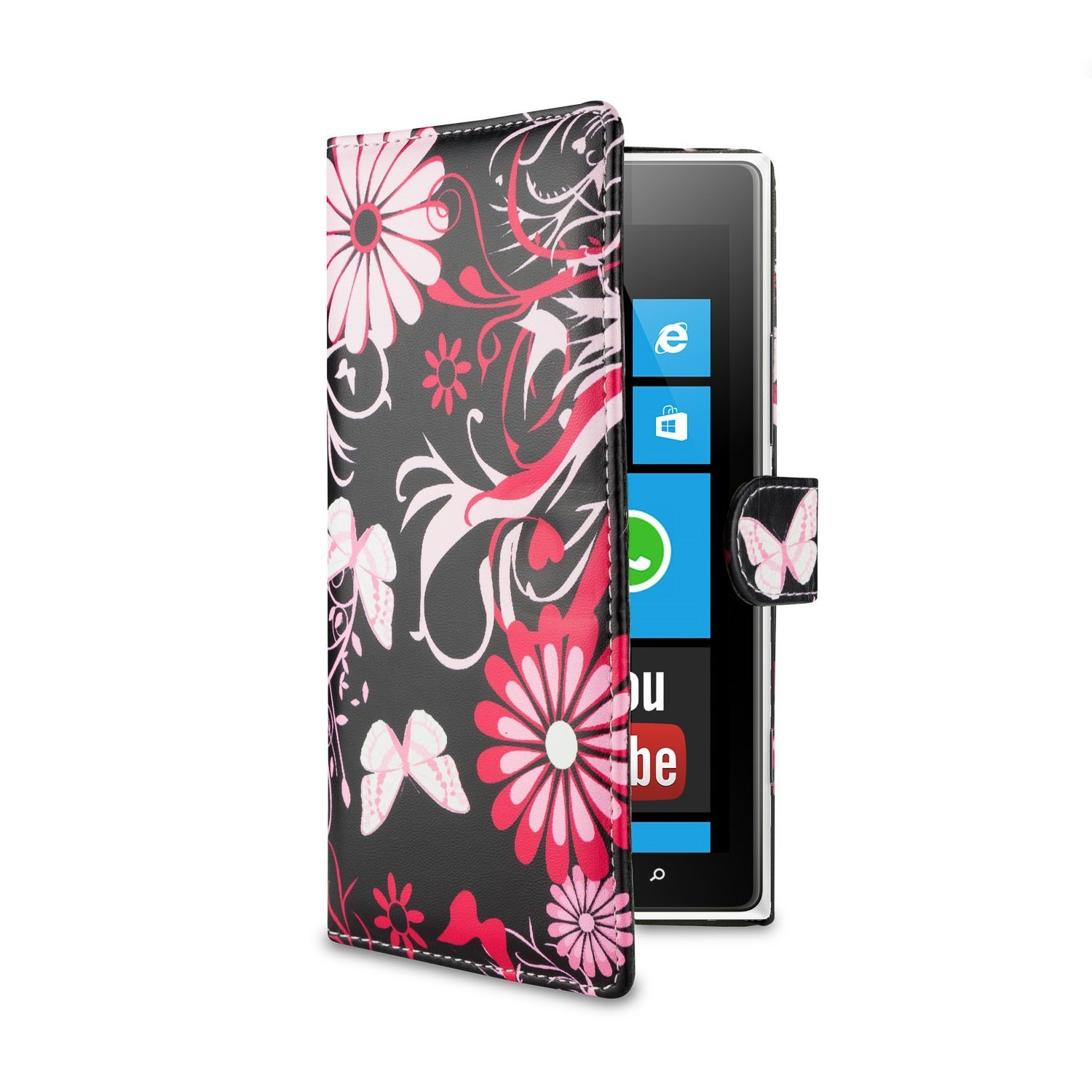 32nd® Design book wallet PU leather case cover for Nokia Lumia 1320, including screen protector and cleaning cloth - Gerbera
