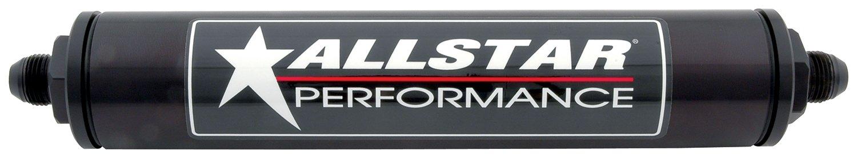 "Allstar ALL40244 Black 12"" Long x 2"" Diameter Anodized Aluminum -8 AN Inlet/Outlet In-Line Fuel Filter Housing"