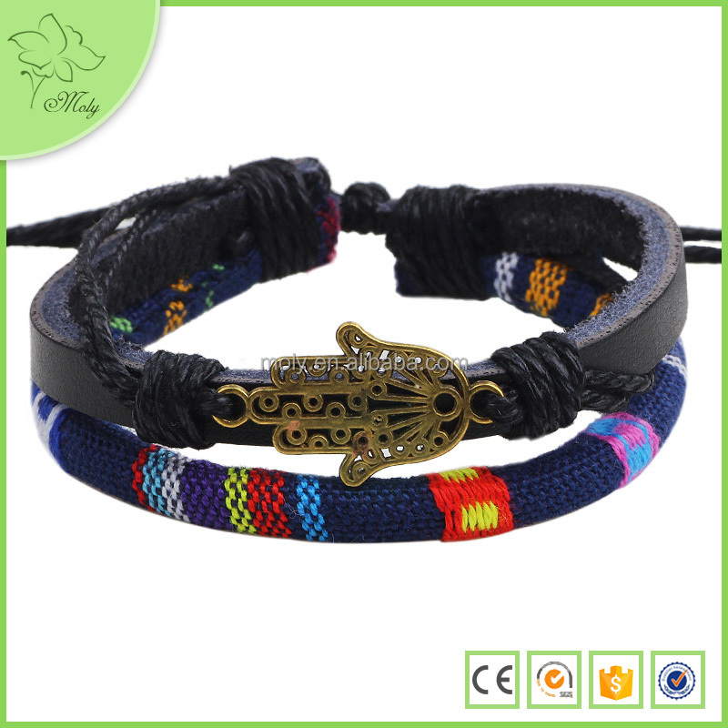 Cotton wax rope braided genuine leather Buddha hand bracelet