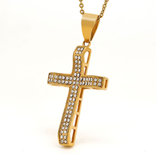 Marlary Custom Mens Hiphop Jewelry Stainless Steel Golden Religious Cross Pendants With Crystal