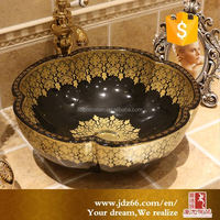 European style ceramic vessel sink gold for wholesale